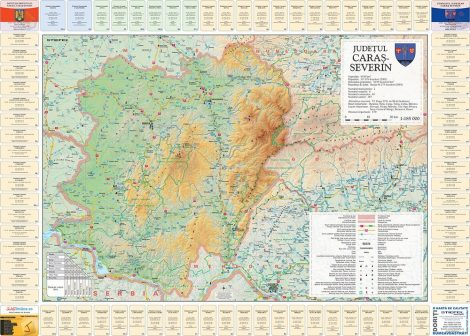 Harta Judetului Caras - Severin cu primarii