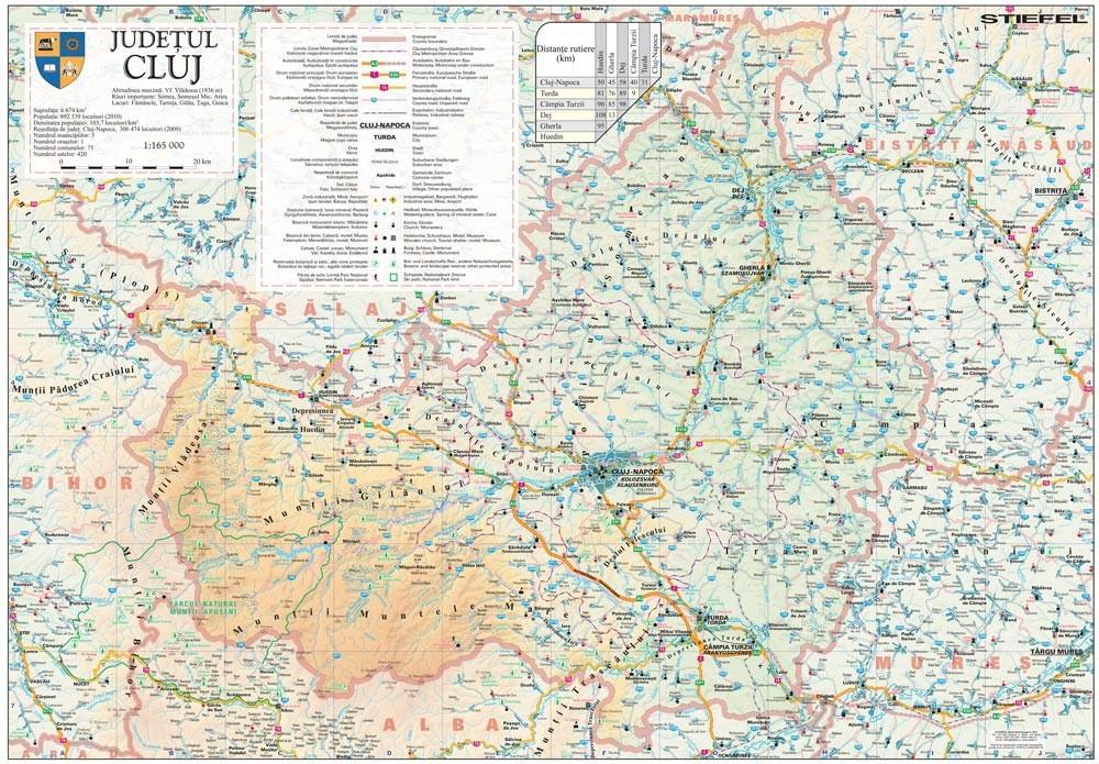 Harta Judetului Cluj 100x70 Cm Sipci Plastic Stiefel Romania