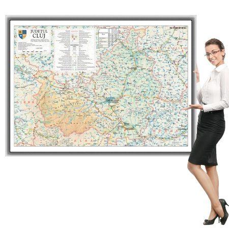 Harta Cluj în ramă de aluminiu
