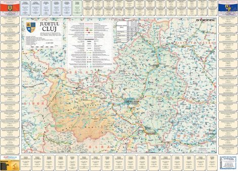 Harta județului Cluj cu primării