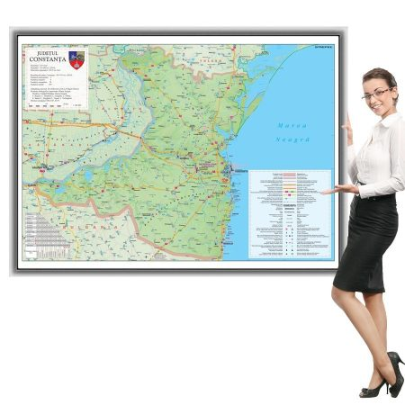 Harta județului Constanța în ramă de aluminiu