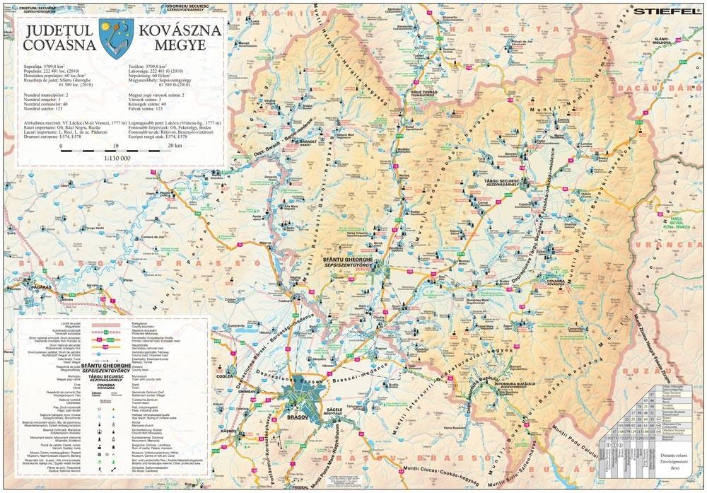 Harta Judetului Covasna 100x70 Cm Sipci Plastic Stiefel Romania
