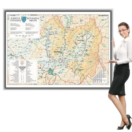 Harta Covasna în ramă de aluminiu