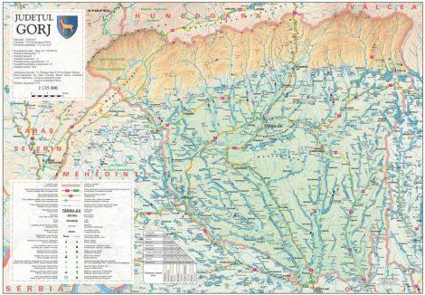 Harta județului Gorj, șipci plastic