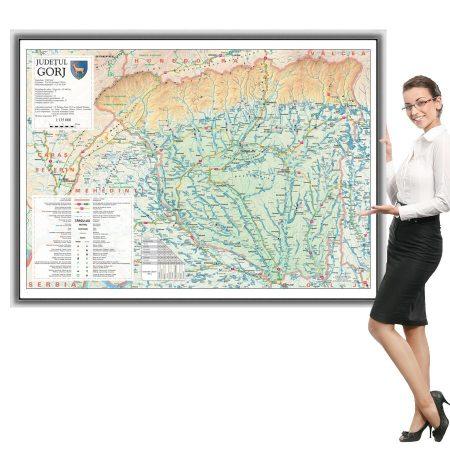 Harta județului Gorj în ramă de aluminiu