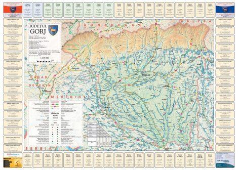 Harta județului Gorj cu primării