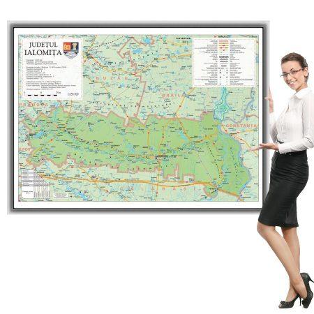 Harta județului Ialomița în ramă de aluminiu