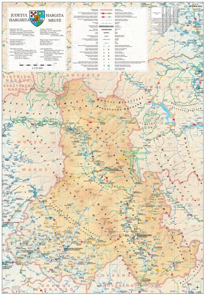 Harta Judetului Harghita 70x100 Cm Sipci Plastic Stiefel Romania