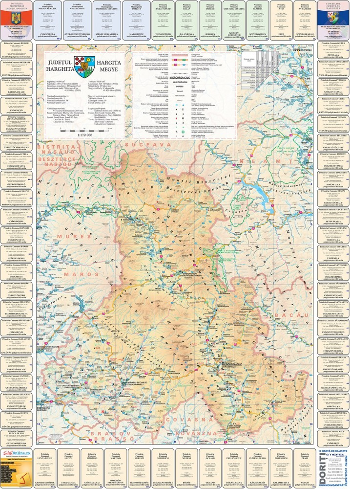 Harta Judetului Cu Primarii Harghita Stiefel Romania