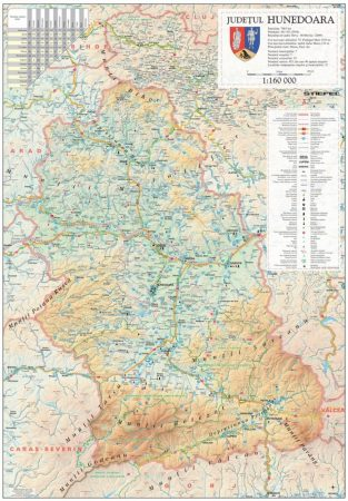 Harta Judetului Hunedoara 70x100 cm sipci plastic
