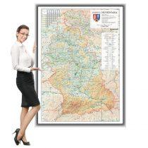 Harta județului Hunedoara în ramă de aluminiu