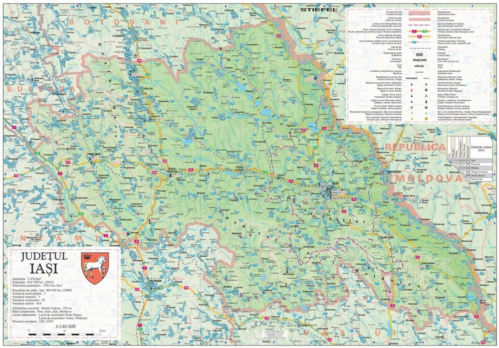 Harta Judetului Iasi 100x70 Cm Sipci Plastic Stiefel Romania
