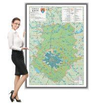 Harta județului Ilfov în ramă de aluminiu