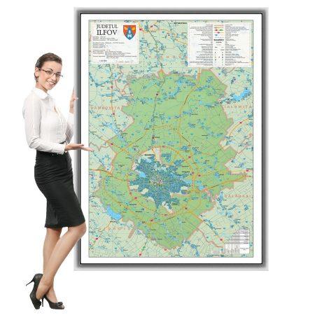 Harta Ilfov in rama de aluminiu