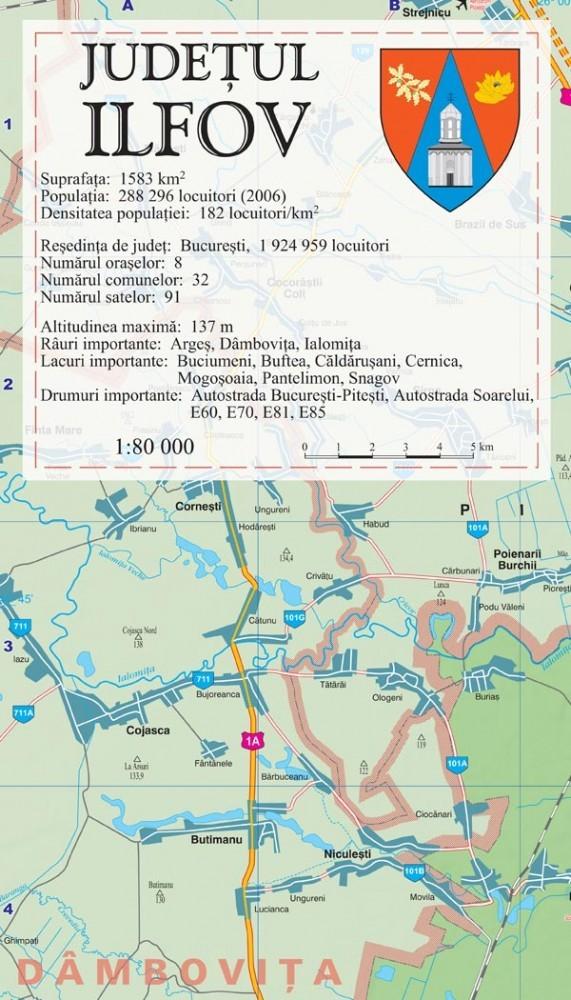 Harta Ilfov In Rama De Aluminiu Stiefel Romania