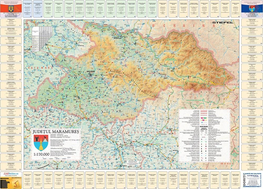 Harta Judetului Cu Primarii Maramures Stiefel Romania