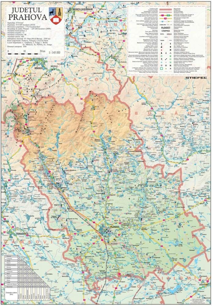 Harta Judetului Prahova 70x100 Cm Sipci Plastic Stiefel Romania
