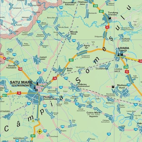 Harta Judetului Satu Mare 100x70 Cm Sipci Plastic Stiefel Romania
