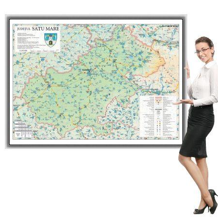 Harta județului Satu Mare în ramă de aluminiu