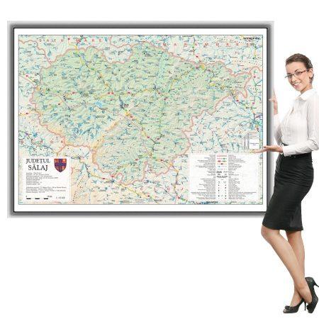 Harta Sălaj în ramă de aluminiu
