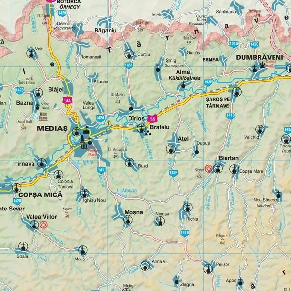 Harta Judetului Sibiu 100x70 Cm Sipci Plastic Stiefel Romania