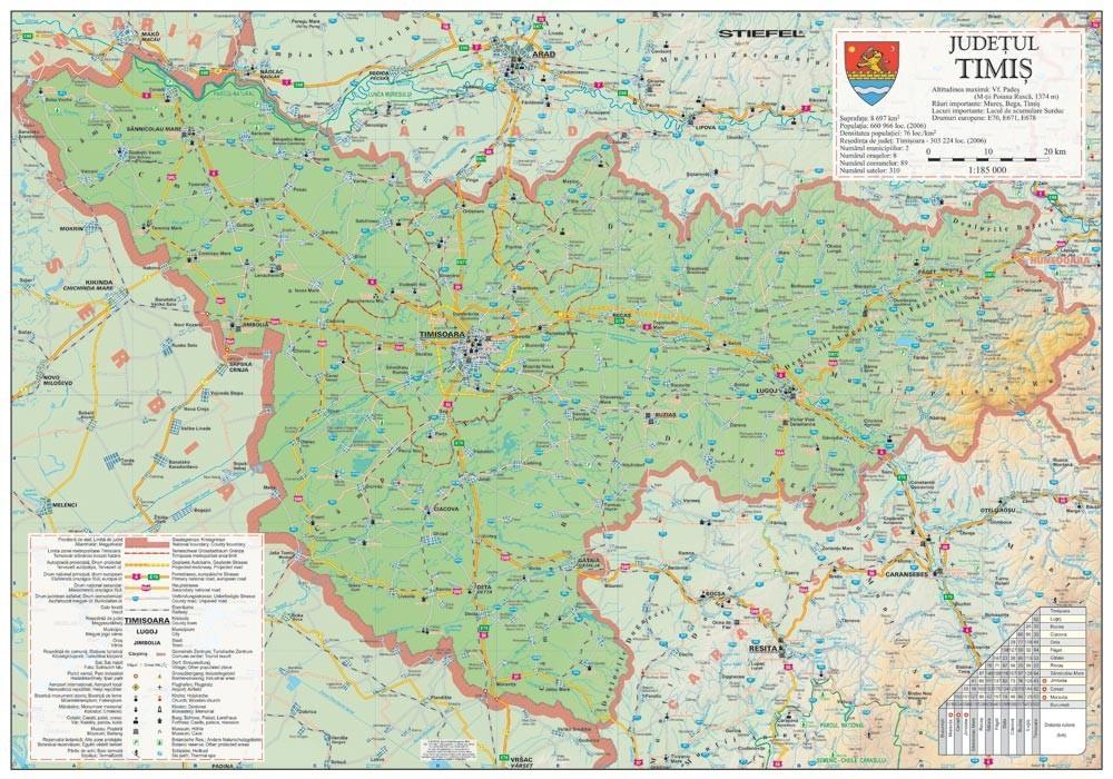 Harta Judetului Timis 100x70 Cm Sipci Plastic Stiefel Romania