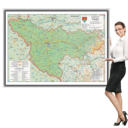 Harta județului Timiș în ramă de aluminiu