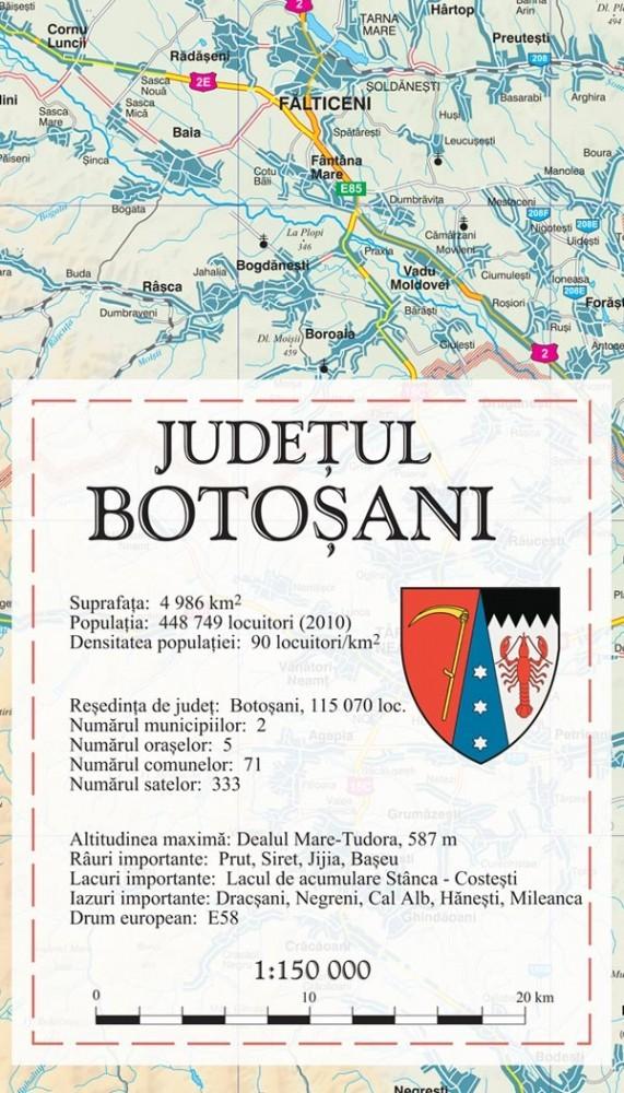 Harta Judetului Botosani 70x100 Cm Sipci Plastic Stiefel Romania
