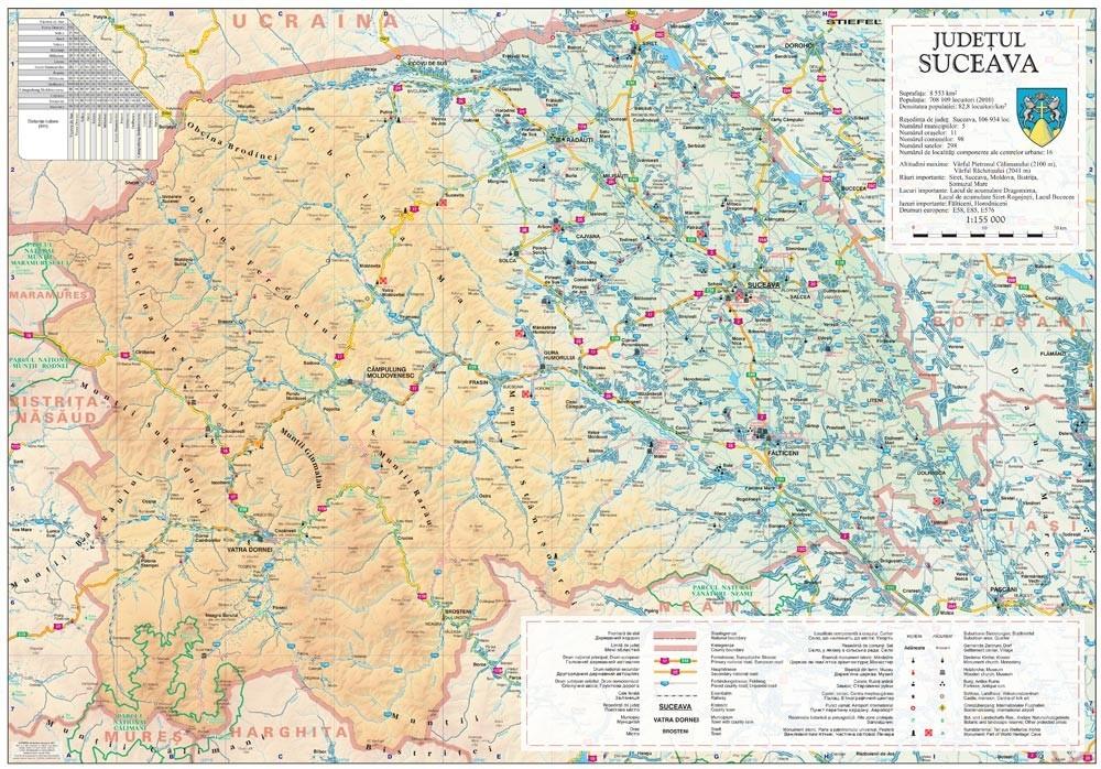 Harta Judetului Suceava 100x70 Cm Sipci Plastic Stiefel Romania
