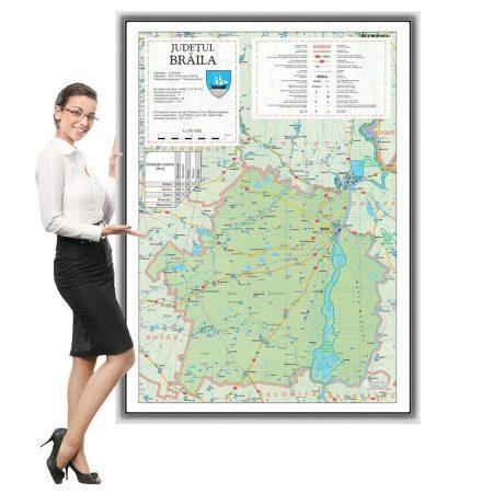 Harta județului Brăila în ramă de aluminiu