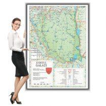 Harta județului Galați în ramă de aluminiu