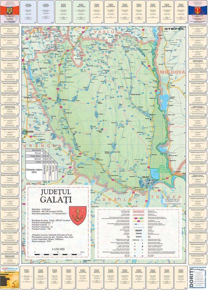 Harta Judetului Cu Primarii Galati Stiefel Romania