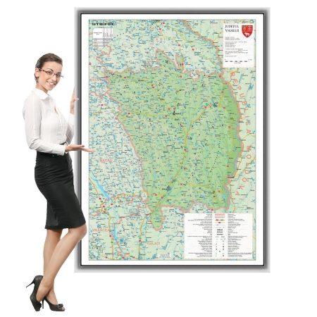 Harta județului Vaslui în ramă de aluminiu