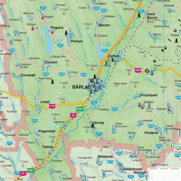 Harta Vaslui In Rama De Aluminiu Stiefel Romania