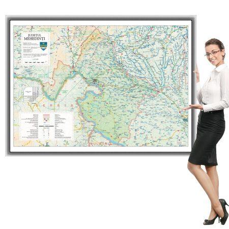 Harta județului Mehedinți în ramă de aluminiu
