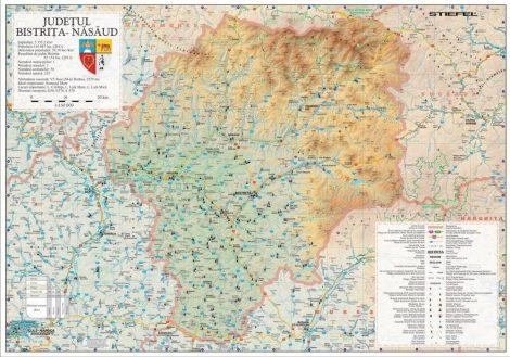 Harta Bistrița-Năsăud în ramă de aluminiu