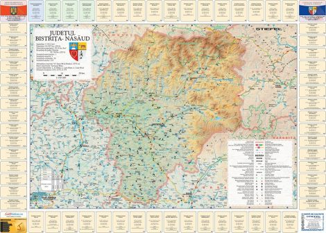 Harta Judetului cu primarii Bistrita-Nasaud