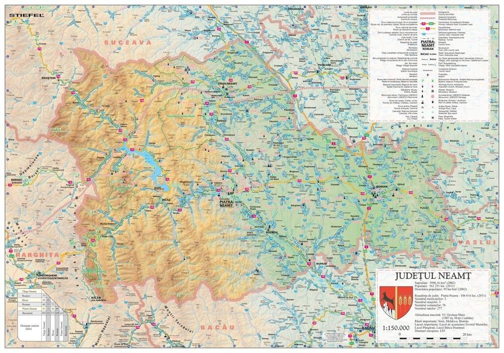 Harta Judetului Neamt 100x70 Cm Sipci Plastic Stiefel Romania