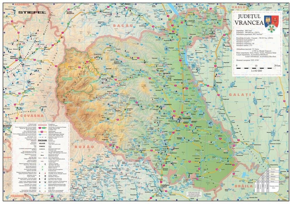 Harta Judetului Vrancea 100x70 Cm Sipci Plastic Stiefel Romania