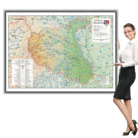 Harta Vrancea în ramă de aluminiu