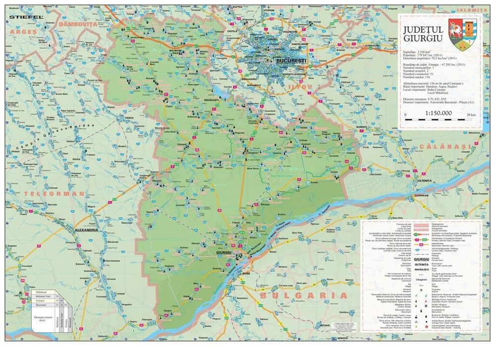 Harta Judetului Giurgiu 100x70 Cm Sipci Plastic Stiefel Romania