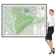 Harta județului Giurgiu în ramă de aluminiu