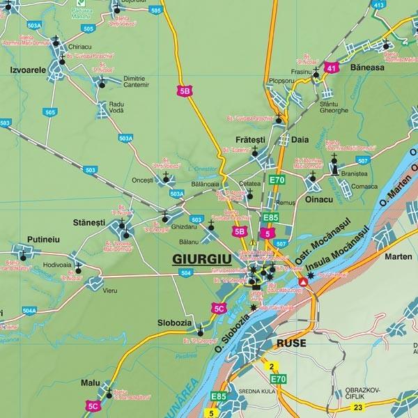 Harta Giurgiu In Rama De Aluminiu Stiefel Romania