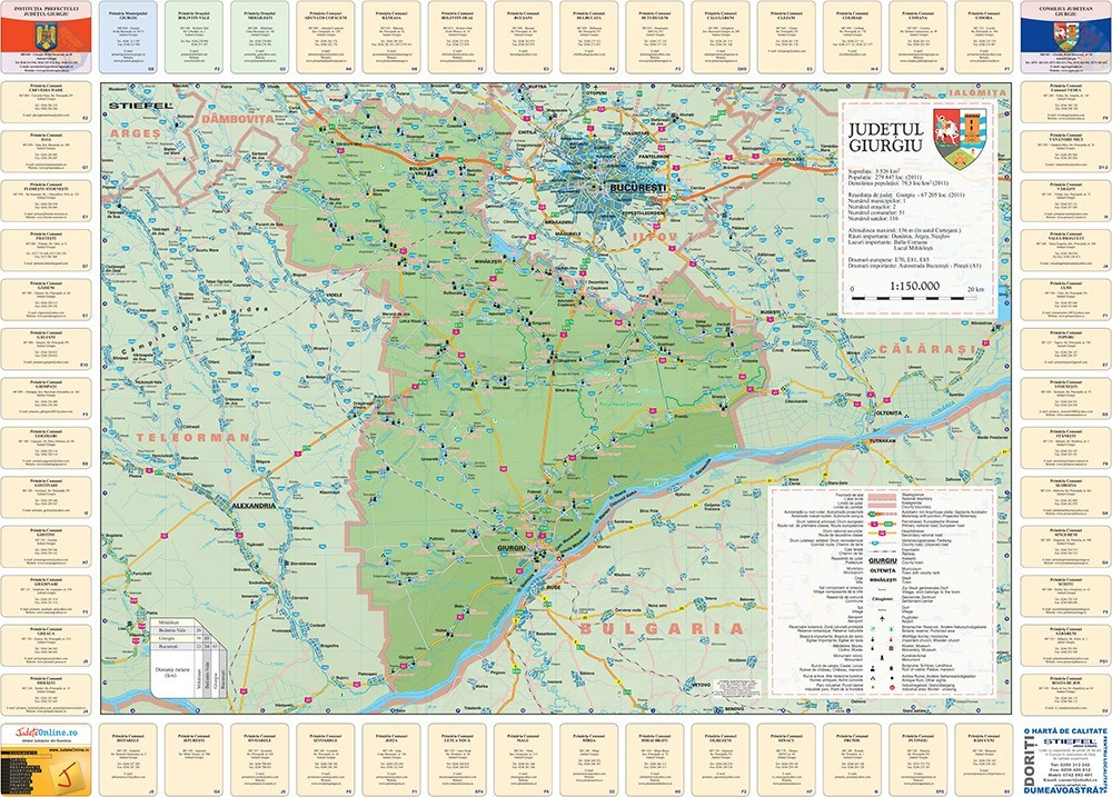 Harta Judetului Cu Primarii Giurgiu Stiefel Romania