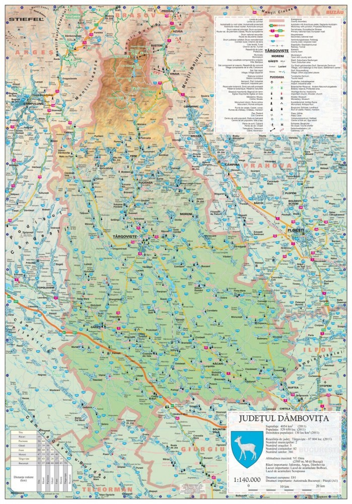 Harta Judetului Dambovita 70x100 Cm Sipci Plastic Stiefel Romania