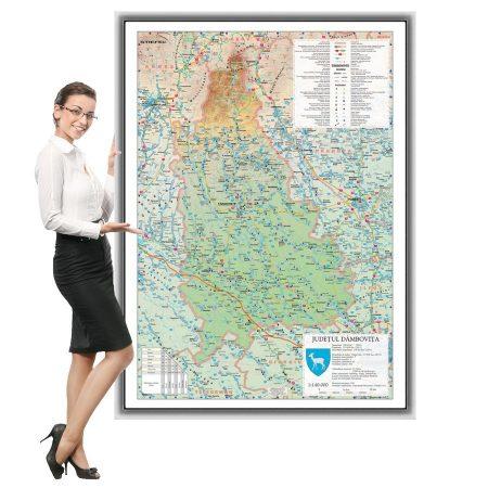 Harta județului Dâmbovița în ramă de aluminiu