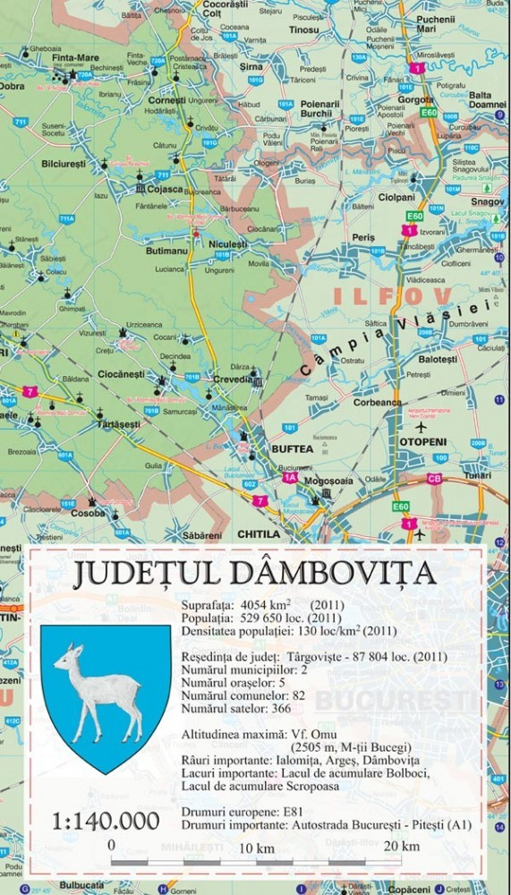 Harta Dambovita In Rama De Aluminiu Stiefel Romania