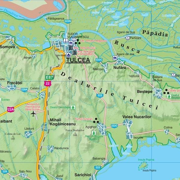 Harta Tulcea In Rama De Aluminiu Stiefel Romania
