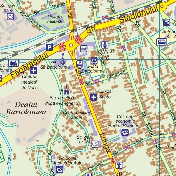 Harta Municipiului Brasov Bv Print Digital Sipci De Lemn