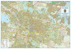 Hartă de perete București Zona Centrală 100x70 cm șipci plastic